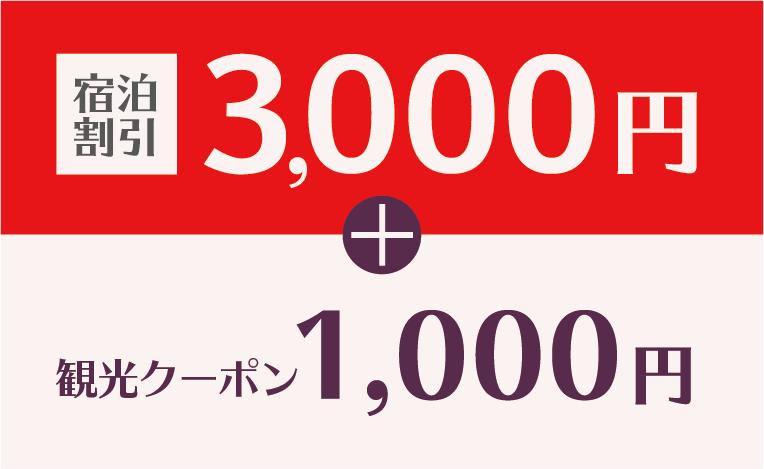 宿泊割引3,000円、お買い物券1,000円